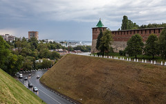 Nizhny Novgorod Kremlin, Russia (Oleg.A) Tags: ancient autumn antique landscape nizhnynovgorod kremlin street water brick city outdoor old materials town clouds russia exterior blue colorful architecture evening cityscape tower nature nizhnynovgorodkremlin sky skyscape wall rain style cloudy landscapes outdoors