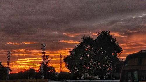 Ludhiana sunset. Orange blast