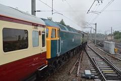 "British Railways Two-Tone Green Class 47/8, D1935 ""Roger Hoskins MA 1925 - 2013"" & BR Blue Class 47/8, 1733 (37190 ""Dalzell"") Tags: br britishrailways twotonegreen britishrail railblue lsl locomotiveserviceslimited brush sulzer type4 duff spoon class47 class478 d1935 rogerhoskinsma19252013 47805 47650 47257 d1733 47853 47614 47141 saphostrains thewilliamshakespeare railtour chartertrain northwestern wigan"