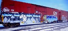 (timetomakethepasta) Tags: freight train graffiti art cn boxcar canadian national moon lit mountain laws teale griz moonlit ugh fuga nuke mlm sowr