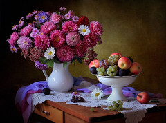 Autumn still life with flowers and fruits (Tatyana Skorokhod) Tags: stilllife flowers fruit bouquet asters grapes apples onthetable indoors decor abigfave
