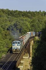 Job 1 crossing Onawa (Thomas Coulombe) Tags: centralmainequebec cmq job1 emdsd402f sd402f freighttrain train onawatrestle onawa shippondstream maine mooseheadsub