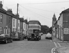 Off the beaten track (DH73.) Tags: northampton grove road daimler cvg6 ncb northern coachbuilders 154 anh154 corporation transport preserved bus heritage open days 6x7 rangefinder camera 100mm mamiya press lens ilford delta 400 id11