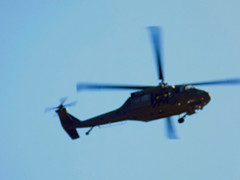 Blurred Military Helicopter. (dccradio) Tags: lumberton nc northcarolina robesoncounty outside outdoor outdoors sky bluesky helicopter chopper flight aviation transportation flying overhead military militaryhelicopter militaryaircraft wednesday morning goodmorning september earlyfall earlyautumn latesummer action motion fly nikon coolpix l340 bridgecamera blur blurred blurry