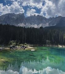 Lagodi Carezza, North Italy :: Vertorama (Erroba) Tags: italy lake lago di carezza dolomites clouds reflections emerald green