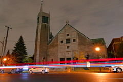 Traffic Passing Central Montreal's Pierre Angulaire Church at Night (@mjmantis Montreal Urban Photos) Tags: montreal nighttime street mtl streetphotography canada night streetphoto church architecture nightscape cityscape citylights nightphoto architecturelovers explorecanada travelphoto landscape quebec citylife urban