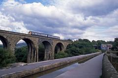 On the Viaduct (DH73.) Tags: british rail marple hope valley line peak forest canal aqueduct dmu class 108 train railcar cheshire honeywell pentax h3v fujichrome 100