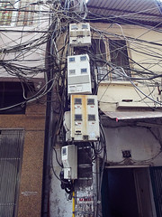 A Tangle of Power Electric Cables in Hanoi (marcocarag) Tags: hanoi vietnam vnm