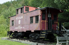 Livingston Manor, New York (2 of 4) (Bob McGilvray Jr.) Tags: livingstonmanor ny newyork caboose railroad train tracks cupola steel red visitorcenter static erie erielackawanna el conrail cr display