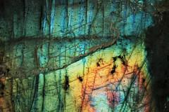 MM Rock: Labradorite (Leve Lumen) Tags: geology mineral colour blue green red yellow orange feldspar igneous metamorphic macro labradorescence lines macromonday rock labradorite