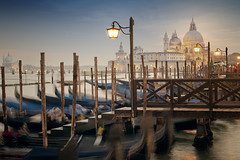 Venice Blue Hour (parkerbernd) Tags: venice blue hour dusk gondolas lights church san marco jetty italy city trip long exposure le