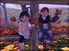 It's autumn time with my forever sissy! (daisypea) Tags: daisy crowley daisycrowley raphael strauss carolina family kid kidlet toddler toddleedoo bebe body bad seed badseed sky okkbye child children tot roleplay secondlife sl second life virtual world rp bearitto photography photo create colour color snapshot art crayons drawing harper besties 2011 sisters forever sissy fall leaves leaf