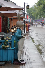 Welcome to Peter Rabbit cafe (沐均青) Tags: chinese travel summer china historical cultural buildings white people cannal water river lantern raining blue street reflections rabbit