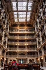 Biblio-Beauty (Dwood Photography) Tags: bibliobeauty george peabody library georgepeabodylibrary baltimore read reading book books yellow gold golden atrium red blue