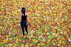 The girl in blue jeans (Domikawa4) Tags: spring flowers flower fleurs champs fields field canon eos paysbas hollande couleur couleurs color colors multicolore multicolour girl fille 1200d sigma 18300mm printemps primavera rouge jaune blanc vert red yelow green white coulour woman