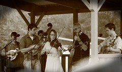Two Rivers Bluegrass Festival. 4 (EOS) (Mega-Magpie) Tags: canon eos 60d outdoors two rivers bluegrass festival music coon fox hunt club harrison il illinois usa america sepia people person guy lady man dude fella woman musicians templeton family