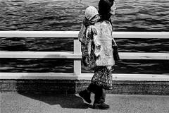 Street 609 (soyokazeojisan) Tags: japan osaka bw city street people blackandwhite river water walk bridge analog olympus m1 om1 100mm film trix kodak memories 1970s 1975