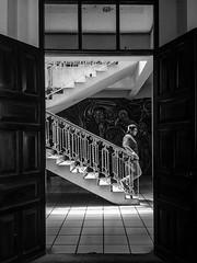 Bajar el palacio (Marcos Núñez Núñez) Tags: mural streetphotography streetphotographer urban oaxaca tuxtepec blackandwhite iphone5s bw escalera stairway contraste puertas doors