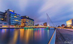 Docklands, Manchester UK (AdelheidS Photography) Tags: manchester river bridge water mediacity adelheidsphotography architecture lights skyline buildings city bluehour england uk greatbritain