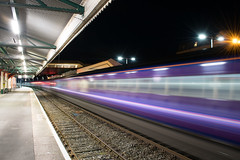 43004 leads the 2135 Paignton - Newton Abbot. A long exposure was used to create the motion blur and light trails. (Hoovering_crompton) Tags: hst highspeedtrain intercity125 gwr fgw greatwesternrailway firstgreatwestern class43 paignton englishriviera longexposure townscape motionblur lighttrails nikon d3300 tripod travis3leggedthing