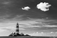 Happisburgh Lighthouse, Norfolk. (I'mDKB) Tags: 2016 50mmf18d lighthouse nikond600 september imdkb monochrome mono norfolk england blackandwhite blackwhite bw fluffy clouds landscape 50mm lightroom5 lr5 happisburgh eastanglia