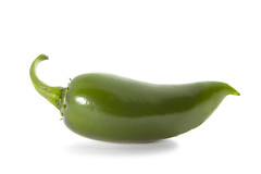 Organic Green Jalapeno Pepper (Taco Shop Tyler) Tags: healthyeating white macro closeup sideview food green pepper plant spice singleobject studioshot freshness ingredient organic seasoning vegetable nobody ripe stem shiny horizontal colorimage photography jalapenopepper chili mexicanculture restaurant
