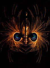 Fire Phoenix (vanessa_macdonald) Tags: phoenix fire sparks steelwool steelwoolphotography burst face firespinning s