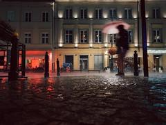 Everything changes. (ewitsoe) Tags: rain ewitsoe erikwitsoe samsunggalaxy8s mobile rainy wet umbrellas running street warsaw poland night storm summer people pedestrian