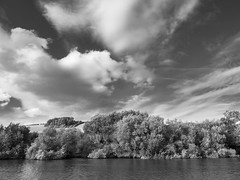 Across the Thames (Bruce Clarke) Tags: olympus oxfordshire water lumix vario clouds trees summer riverthames berkshire monochrome m43 lowerbasildon landscape churchfarm sky omdem1 panasonic1235mmf28 chilterns outdoor bw