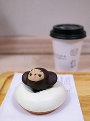 Cheburashka on the donut : ) (Long Sleeper) Tags: sweets dessert food cafe floresta donut chocolate whitechocolate コロコロチェブ cheburashka チェブラーシカ cute cup koenji tokyo japan dmcgx1