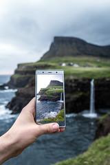 Capture the Beauty (Fabian Fortmann) Tags: faroe islands xperia xz2 premium waterfall smartphone landscape coast village mobile