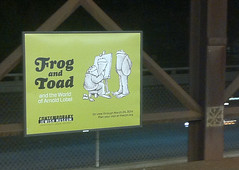 Frog and Toad ad | MacArthur BART station (david ross smith) Tags: drs davidrosssmith frogandtoad walnutcreek pleasanthill california message text words signage ad advertisement characters drawing illustration