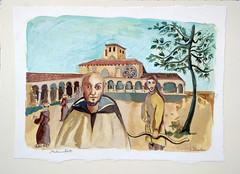 Monastère -31.7 / 22.5 cm - 60 * (Carnets de Voyages : Anne Steinlein) Tags: monastère moine illustration annesteinlein sacré religion peinture gouache tiralarc archer priere