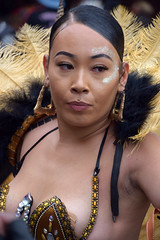 DSC_7892 Notting Hill Caribbean Carnival London Exotic Colourful gold and Black Costume with Ostrich Feather Headdress Girls Dancing Showgirl Performers Aug 27 2018 Stunning Ladies Pasties Showing (photographer695) Tags: notting hill caribbean carnival london exotic colourful costume girls dancing showgirl performers aug 27 2018 stunning ladies gold black with ostrich feather headdress pasties showing