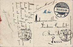 Postcard to a mademoiselle, 1909 (Peter Denton) Tags: postcard writing paris handwriting 1909 postmark königswinter