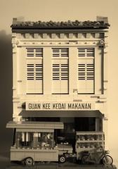 Guan Kee Kopitiam (B&W) (gan.marco) Tags: lego moc city food stall cart muar avenue 4 johor black white