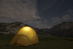 Solo trekking Vallée de la Clarée (Kitty Terwolbeck) Tags: france alps hautesalpes valleedelaclaree mountains trekking hiking nature outdoors campingdelalame névache camping campsite tent thenorthface westwind evening night nightscape nightphotography astrophotography clouds stars roubion