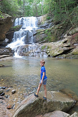 Little Fella at Little Bradley Falls (FAIRFIELDFAMILY) Tags: saluda nc north carolina south river little bradley bradly falls rainbow turtle carson jason taylor grant rock water michelle family swim swimming log tree forest father son mother fairfield winnsboro sc polk county flat climb climbing hiking walking child young boy man pretty