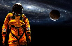 Mysterious astronaut has been seen. (MoparMadman63) Tags: spacesuit outerspace space galaxy helmet orange moon illusion creative collage photoshop