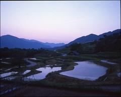 (✞bens▲n) Tags: mamiya 7ii velvia 50 80mm f4 film analog 6x7 japan nagano obasute rice fields landscape mountains evening