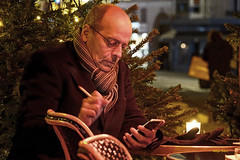 French-2 (albyn.davis) Tags: cafe restaurant people man portrait smoking paris france europe night light scarf