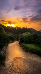 iPhone X river shot (kellypettit) Tags: iphonex iphone sunset cycling bicycle japan ricefields paddies orangesky peaceful trek riding ridingaroundjapan