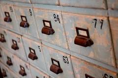 Card Catalog (Read2me) Tags: brimfieldantiquesfair old pree cye wood drawers metal thechallengefactorywinner ge numbers
