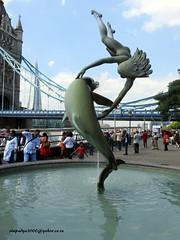 DSCN0349Dame & Dolphin-A fountain near Tower Bridge-London (vlupadya) Tags: dame dolphin fountain towerbridge london