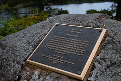 In Memory of John Hellquist - Minnesota State Forests (Tony Webster) Tags: cookcounty dnr departmentofnaturalresources estherlake estherlakecampground grandportagestateforest johnhellquist minnesota minnesotadnr minnesotadepartmentofnaturalresources dedication fall memorial plaque
