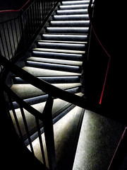 Show Me the Way Up (Steve Taylor (Photography)) Tags: rotherhithe stairway lit railing red architecture black uk england london gb greatbritain silhouette filmnoir