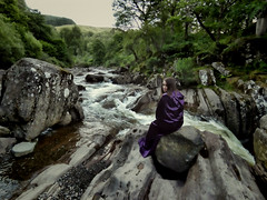 White Witch of the Falls (marcusbentus) Tags: white witch whitewitch waterfall bracklinn falls callander crags trossachs scotland uk cascade dcfz82 panasonic lumix purple cloak magic wicca wican pagan tranquil stream mountain burn