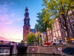 Prinsengracht en Westertoren (johan wieland) Tags: 2018 westertoren prinsengracht canal gracht avond sunset zonsondergang