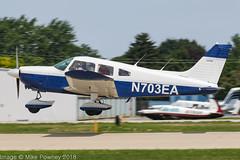 N703EA - 1973 build Piper PA-28-180 Cherokee, arriving on Runway 27 at Oshkosh during Airventure 2018 (egcc) Tags: 287405036 airventure airventure2018 cherokee derrickengineering eaa kosh lightroom n703ea osh oshkosh pa28 pa28180 piper