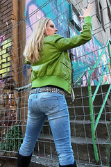 Yvonne 30 (The Booted Cat) Tags: sexy blonde hair girl model tight blue jeans denim belt leather jacket heels highheels boots ass